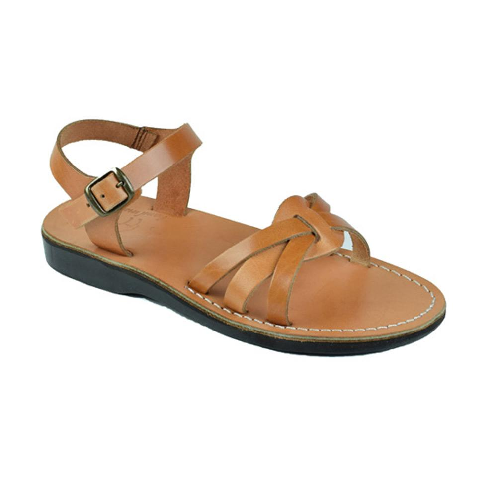 Miriam Tan, handmade leather sandals with back strap  - Front View