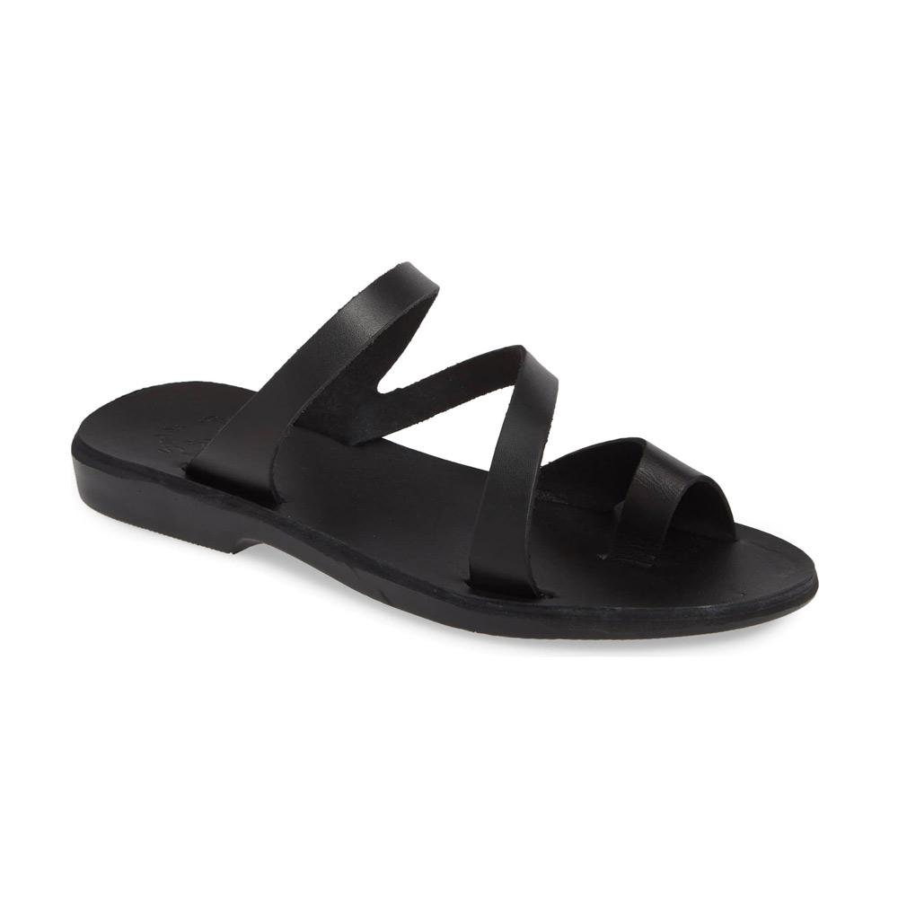 Noah black, handmade leather slide sandals with toe loop - Front View