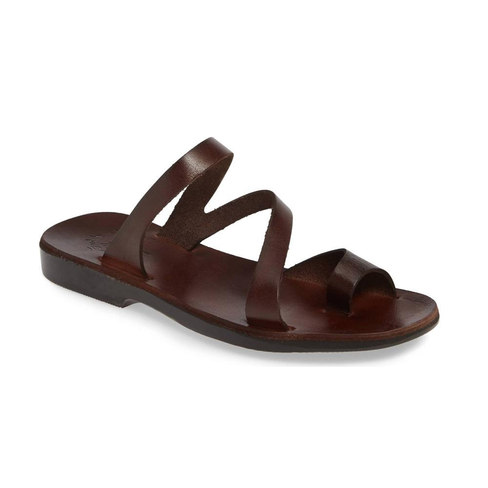 Noah brown, handmade leather slide sandals with toe loop - Front View