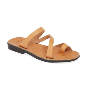 Noah Tan, handmade leather slide sandals with toe loop - Front View