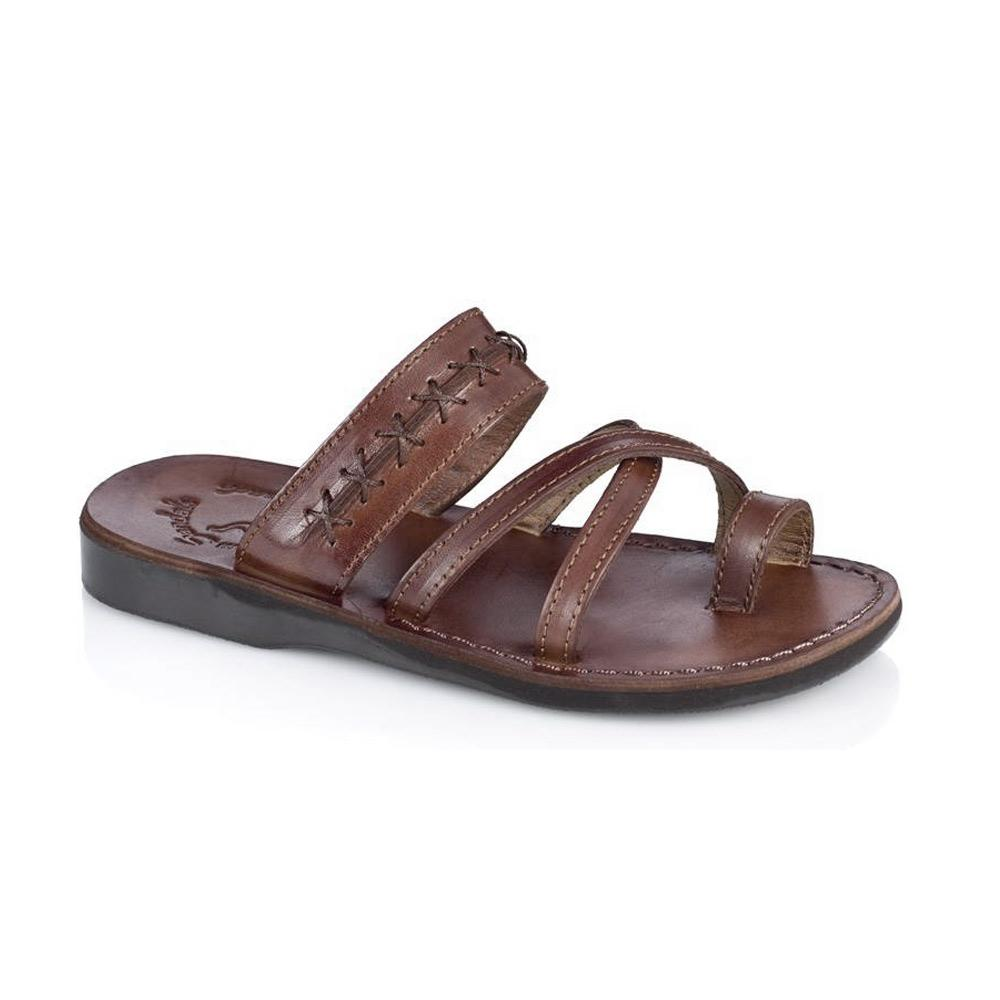 Rachel Brown , handmade leather slide sandals with toe loop - Front View