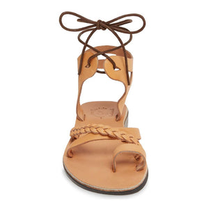 Ramah Tan, handmade leather sandals with back strap and toe loop side view