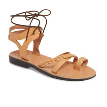 Load image into Gallery viewer, Ramah Tan, handmade leather sandals with back strap and toe loop