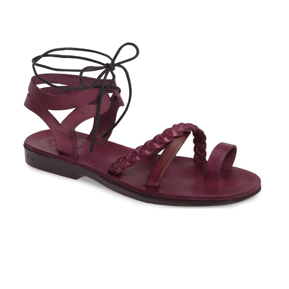 Ramah Violet, handmade leather sandals with back strap and toe loop front view