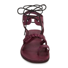 Load image into Gallery viewer, Ramah violet, handmade leather sandals with back strap and toe loop side view