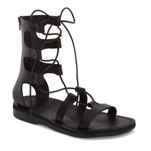 Load image into Gallery viewer, Rebecca black, handmade leather sandals with back strap - front view