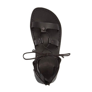 Rebecca black, handmade leather sandals with back strap  - Front View