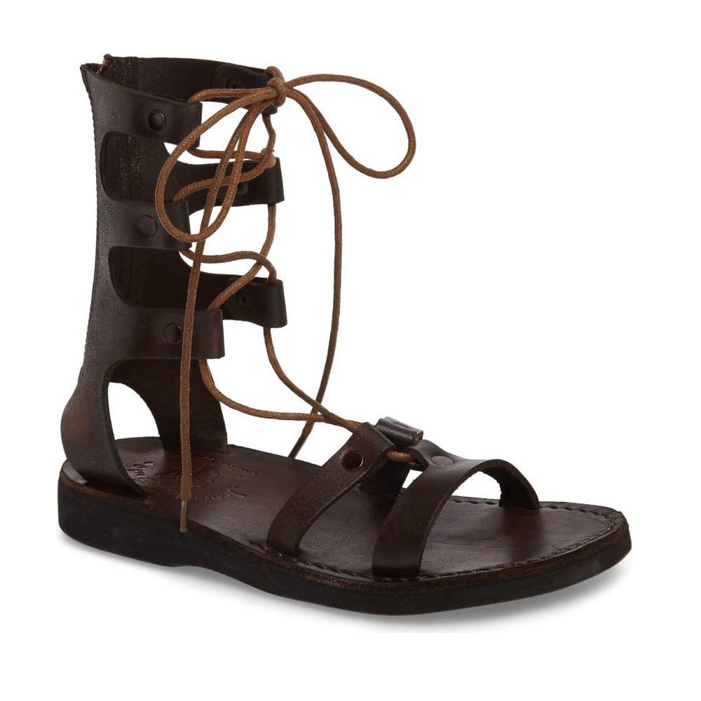 Rebecca brown, handmade leather sandals with back strap  - Front View