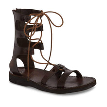 Load image into Gallery viewer, Rebecca brown, handmade leather sandals with back strap  - Front View