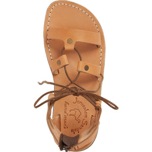 Rebecca Tan, handmade leather sandals with back strap  - Side View