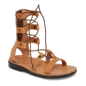 Rebecca Tan, handmade leather sandals with back strap  - Front View