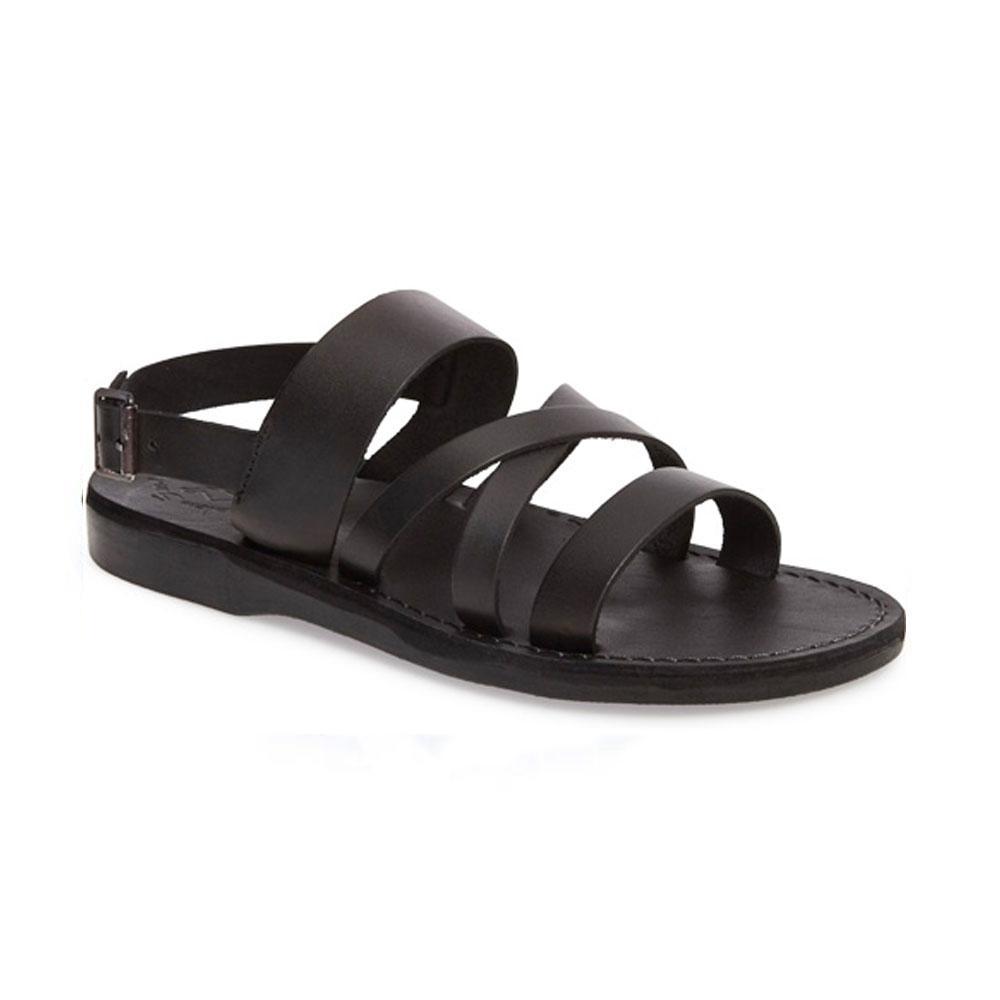 Silas black, handmade leather sandals with back strap - Front Vie