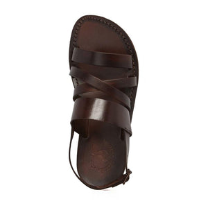 Silas brown, handmade leather sandals with back strap - side Vie