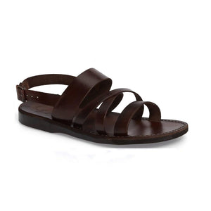 Silas brown, handmade leather sandals with back strap - Front Vie