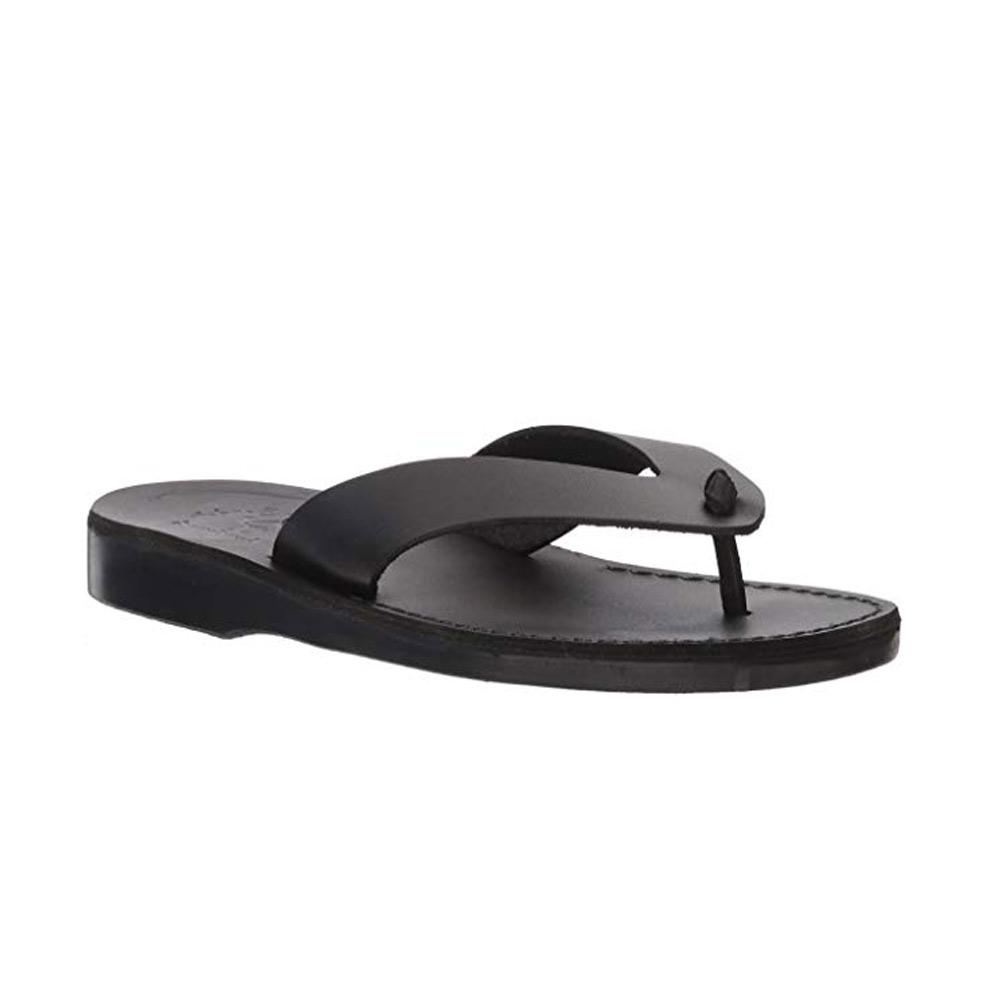 Solomon black, handmade leather slide sandals - Front View
