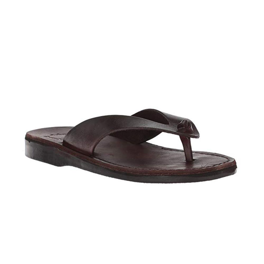 Solomon brown, handmade leather slide sandals - Front View