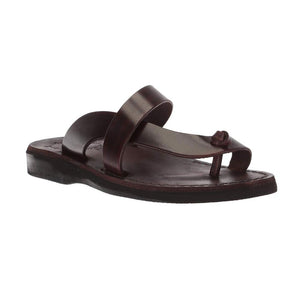 Tan Brown, handmade leather slide sandals with toe loop - Front View