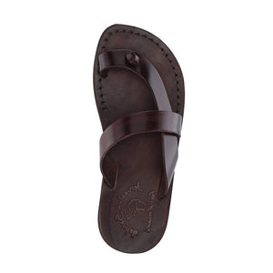 Tal Brown, handmade leather slide sandals with toe loop - side View