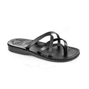 Tamar black, handmade leather slide sandals - Front View