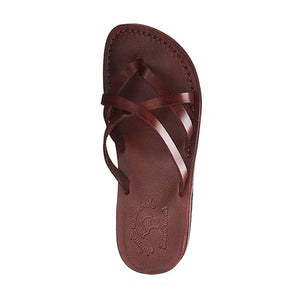 Tamarbrown, handmade leather slide sandals - Side View