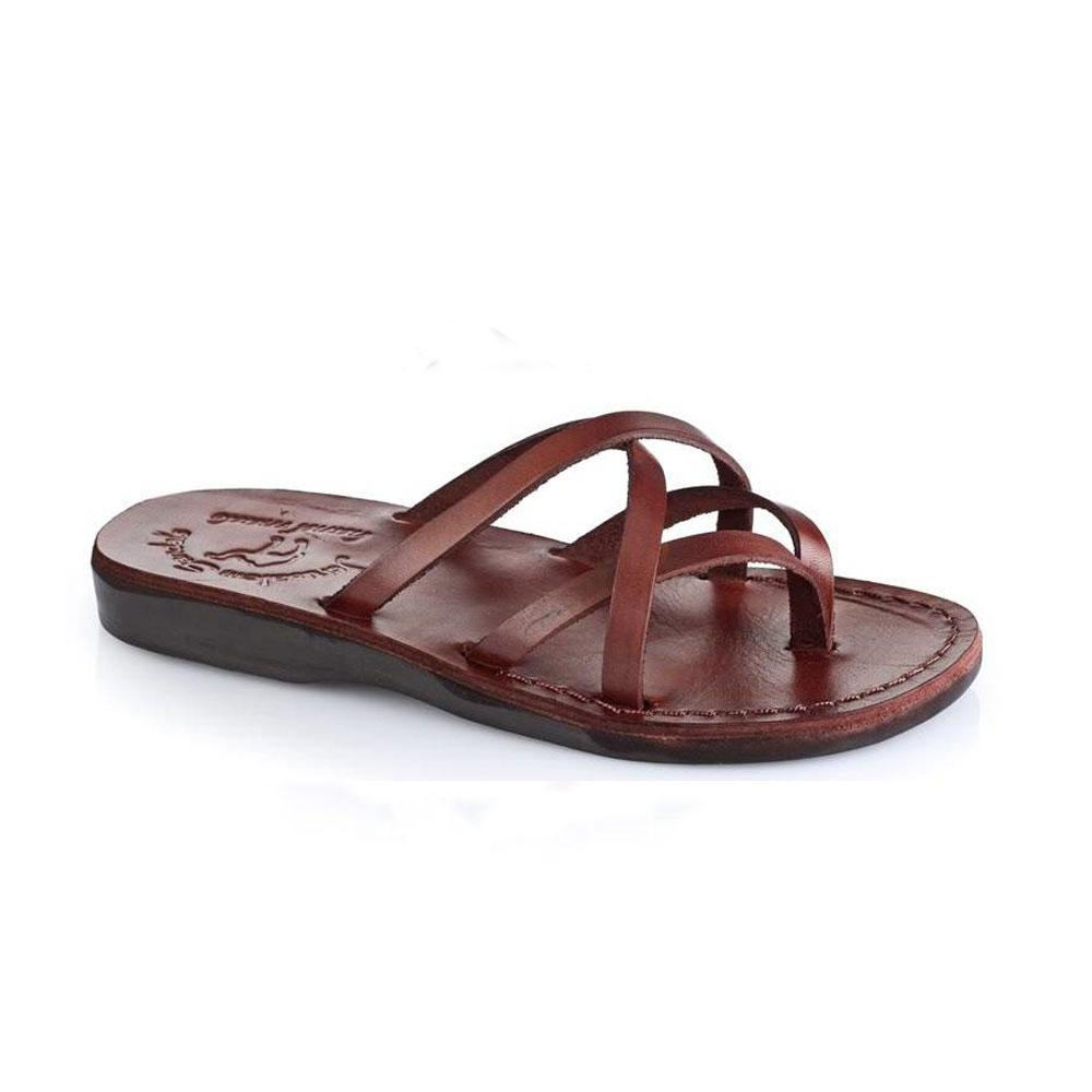 Tamar brown, handmade leather slide sandals - Front View