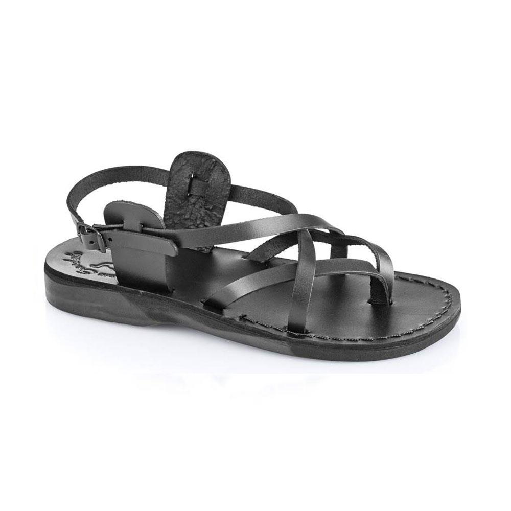 Tamar Buckle black, handmade leather sandals with back strap  - Front View