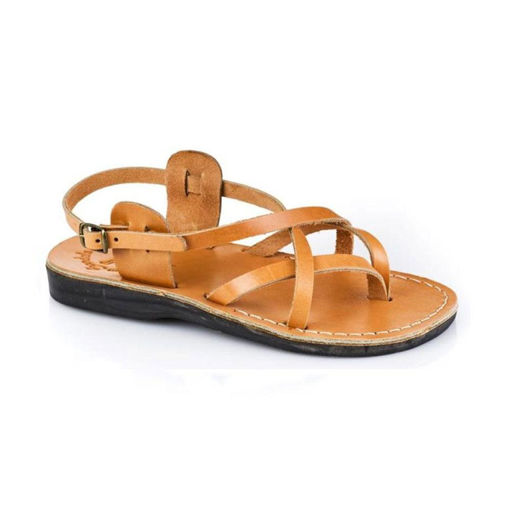 Tamar Buckle tan, handmade leather sandals with back strap  - Front View