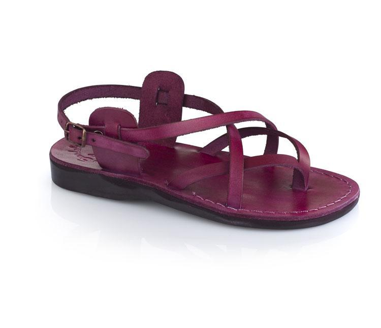 Tamar Buckle violet, handmade leather sandals with back strap  - Front View