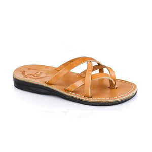 Tamar tan, handmade leather slide sandals - Front View