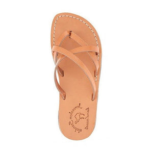 Tamar tan, handmade leather slide sandals - Side View