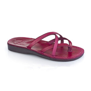 Tamar Violet, handmade leather slide sandals - front View