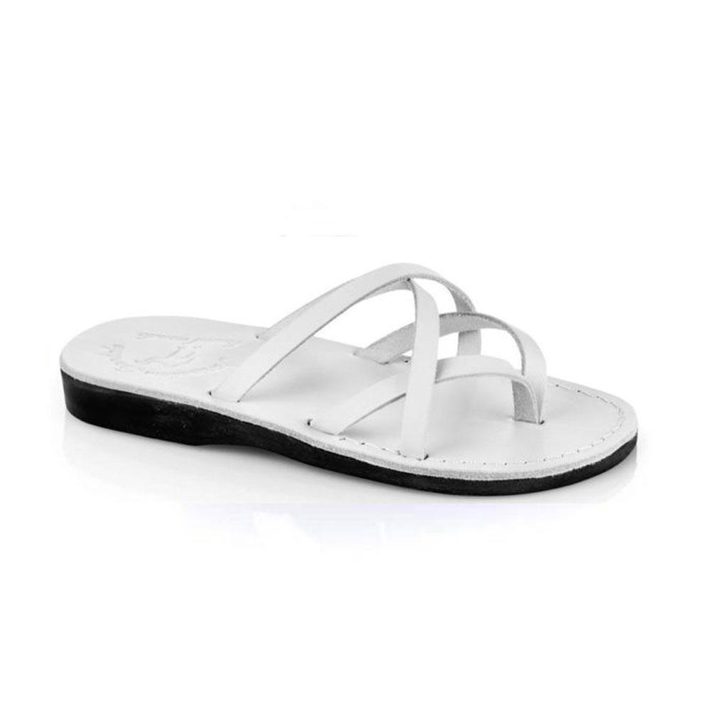 Tamarwhite, handmade leather slide sandals - Front View
