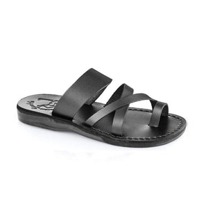 The Good Shepherd black, handmade leather slide sandals with toe loop - Front View