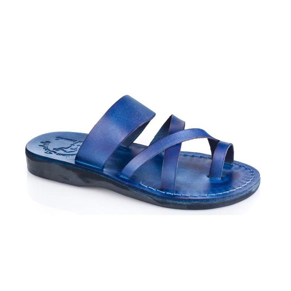 The Good Shepherd blue, handmade leather slide sandals with toe loop - Front View