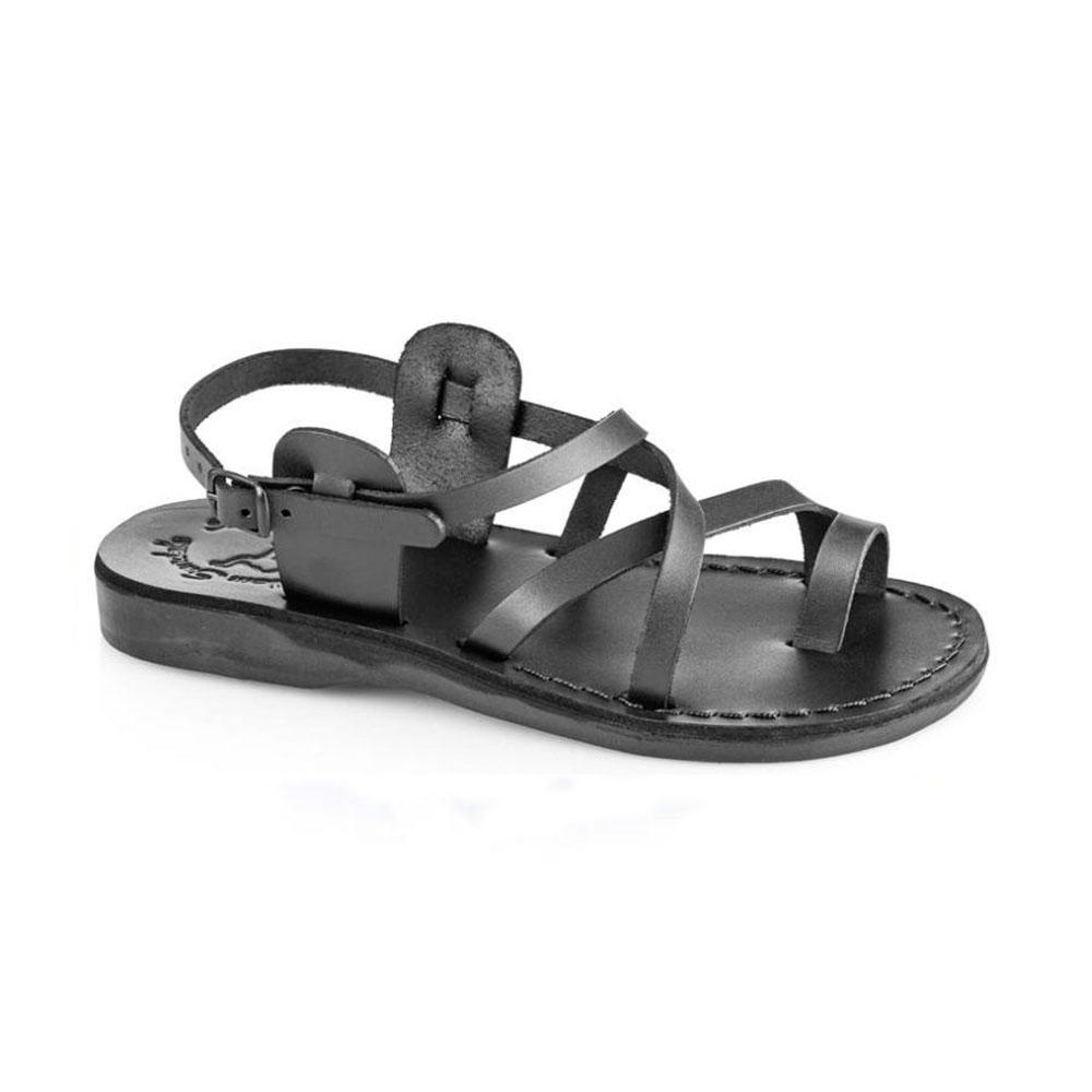 The Good Shepherd Buckle black, handmade leather sandals with back strap and toe loop  - Front View