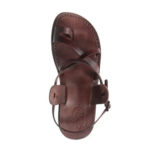 The Good Shepherd Buckle brown, handmade leather sandals with back strap and toe loop - side view