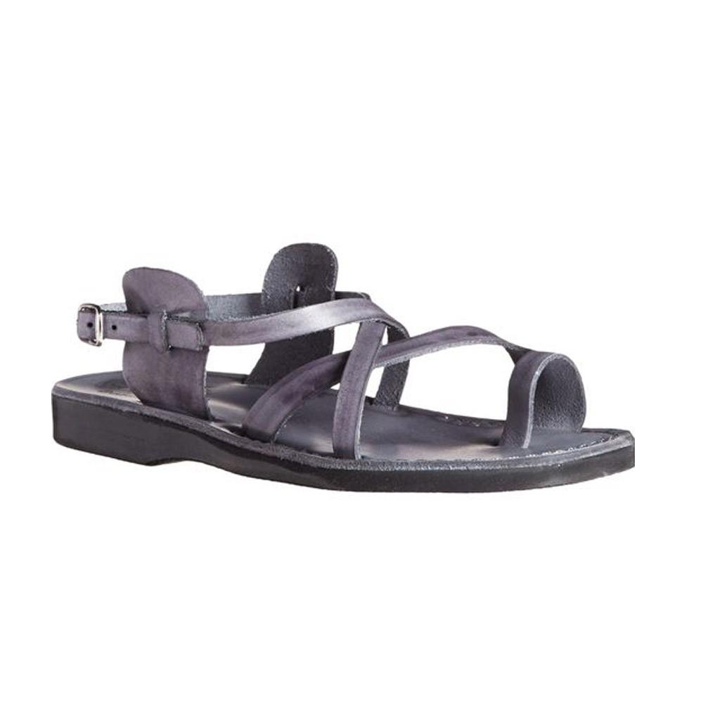 The Good Shepherd Buckle gray, handmade leather sandals with back strap and toe loop - front view