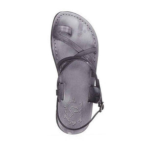 The Good Shepherd Buckle gray, handmade leather sandals with back strap and toe loop - side view