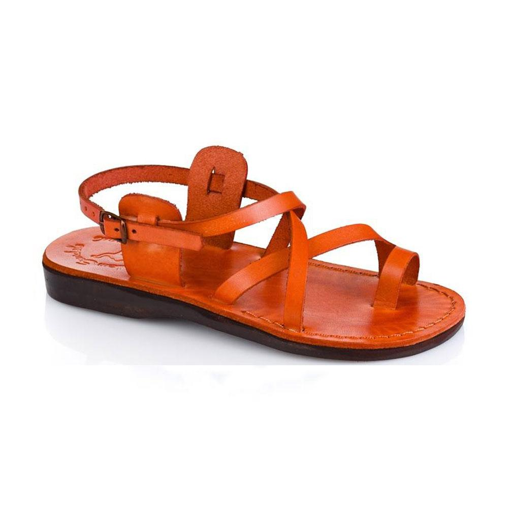 The Good Shepherd Buckle orange, handmade leather sandals with back strap and toe loop  - Front View