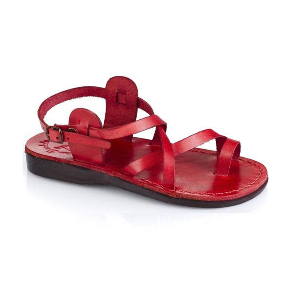 The Good Shepherd Buckle red, handmade leather sandals with back strap and toe loop  - Front View