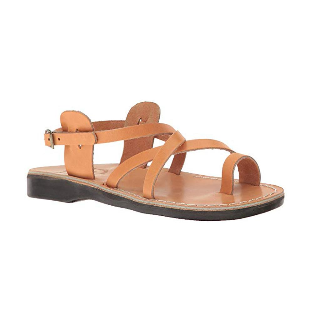 The Good Shepehrd Buckle tan, handmade leather sandals with back strap and toe loop  - Front View