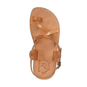 The Good Shepherd Buckle Tan, handmade leather sandals with back strap and toe loop - side view