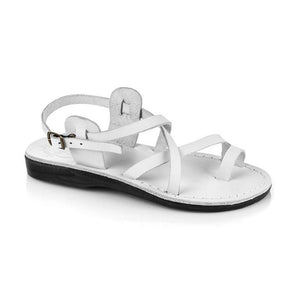 The Good Shepherd Buckle white, handmade leather sandals with back strap and toe loop  - Front View