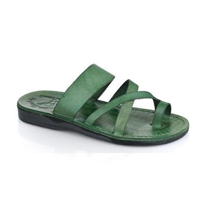 The Good Shepherd green, handmade leather slide sandals with toe loop - Front View
