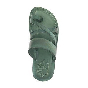 The Good Shepherd green, handmade leather slide sandals with toe loop - Side View