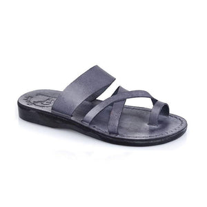 The Good Shepherd gray, handmade leather slide sandals with toe loop - Front View