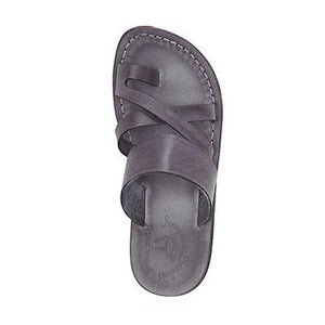 The Good Shepherd gray, handmade leather slide sandals with toe loop - Side View