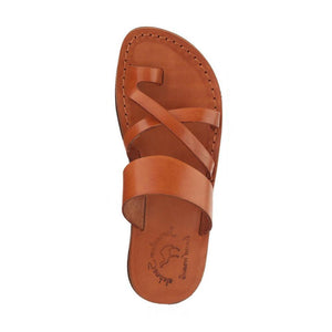 The Good Shepherd honey, handmade leather slide sandals with toe loop - Side View