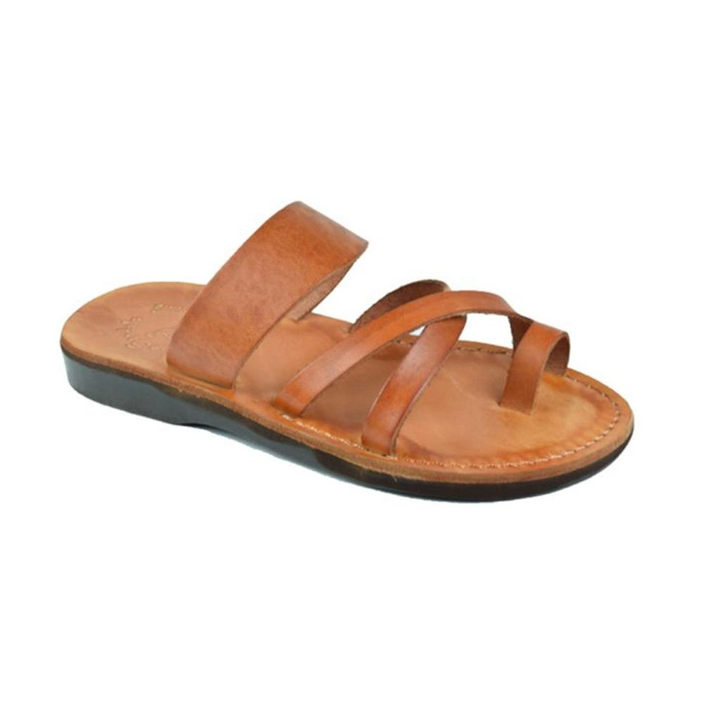 The Good Shepherd honey, handmade leather slide sandals with toe loop - Front View