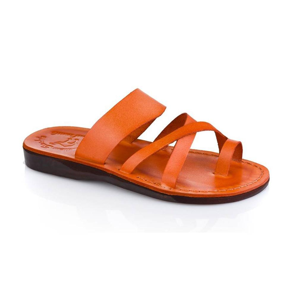 The Good Shepherd orange, handmade leather slide sandals with toe loop - Front View